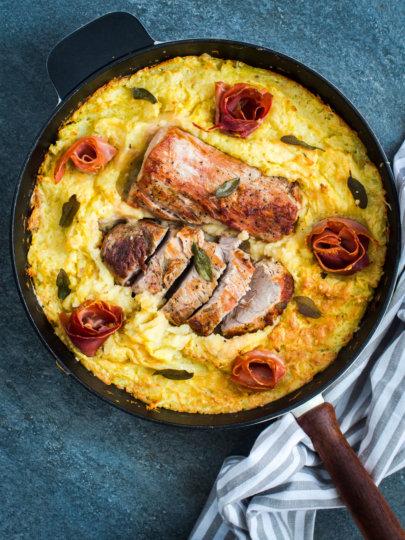 Jamie Oliver: Pečeni lungić s gratiniranim pire krumpirom